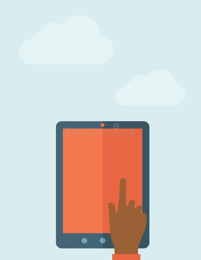 Écran vide émouvant de main de tablette illustration de vecteur