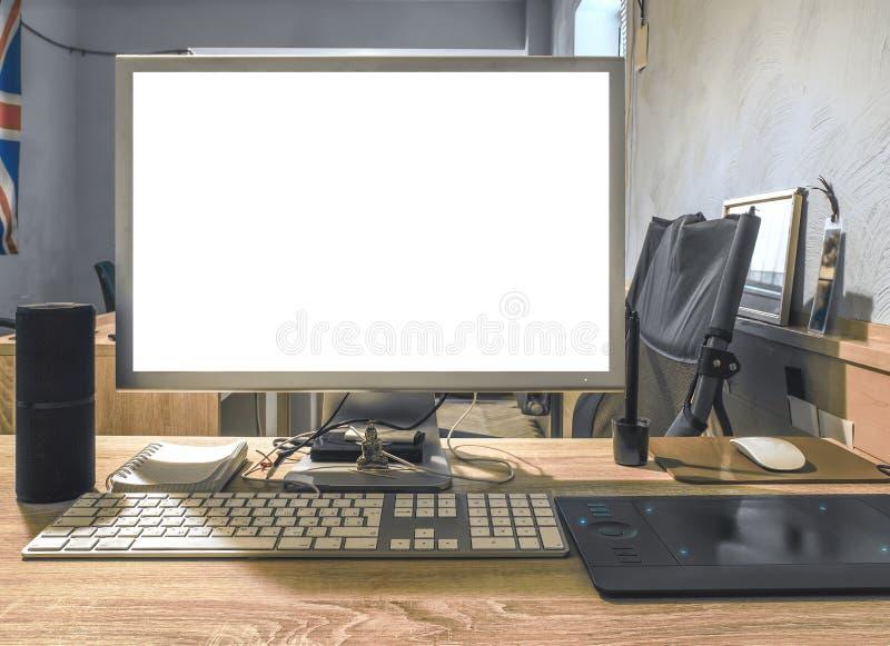 Écran vide d ordinateur de bureau moderne photo stock image du