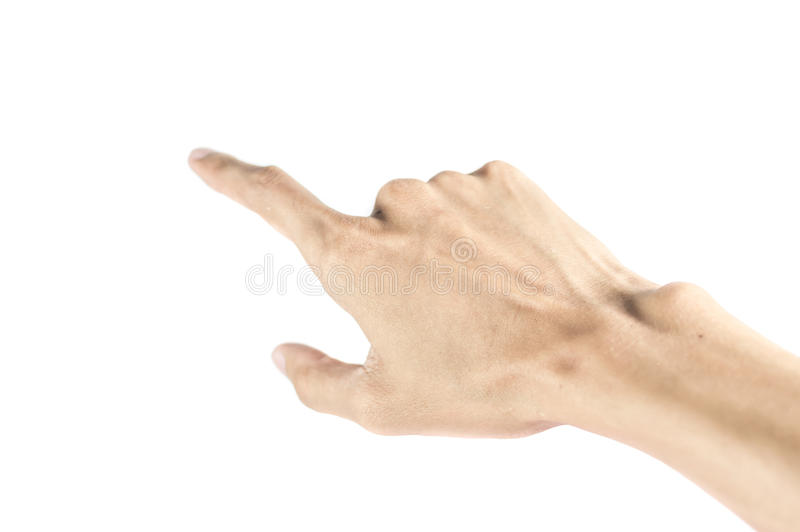 Écran virtuel émouvant de main d'homme. photo stock