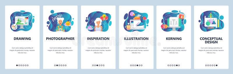 Écrans onboarding d'appli mobile Art de Digital, dessin et peinture, artiste, illustration Calibre de bannière de vecteur de menu illustration stock