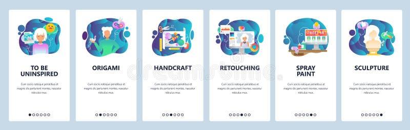 Écrans onboarding d'appli mobile Digital et art traditionnel, photo retouchent, origami et handcraft Bannière de vecteur de menu illustration de vecteur