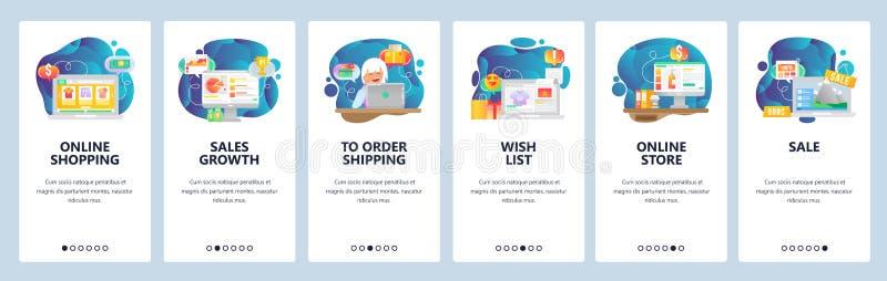 Écrans onboarding d'appli mobile En ligne achat, diagramme financier, liste de souhaits, magasin en ligne, paiement d'ordre et li illustration de vecteur
