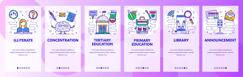 Écrans onboarding d'appli mobile Système d'éducation, bibliothèque numérique dans le téléphone, illettré Calibre de bannière de v illustration stock