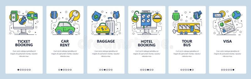 Écrans onboarding de site Web Icônes de voyage de vacances, réservation d'hôtel, billets, visa, loyer de voiture Calibre de banni illustration libre de droits