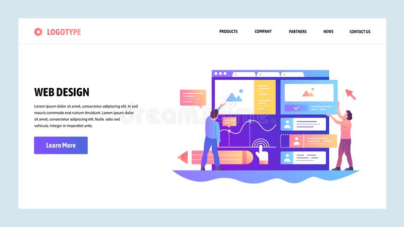Écrans onboarding de site Web Interface d'ui d'ux de construction d'équipe Calibre de bannière de vecteur de menu pour le site We illustration stock