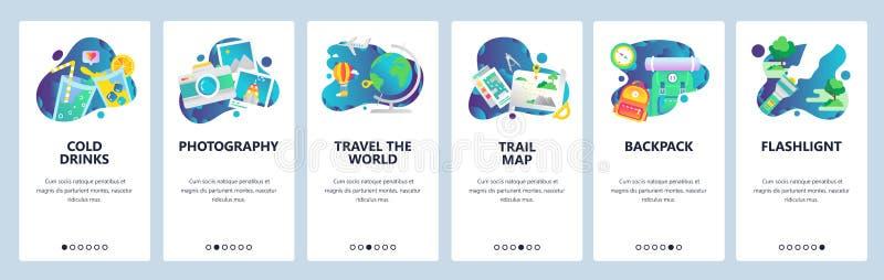 Écrans onboarding de site Web Les icônes de voyage de vacances, camping et hausse extérieure, voyagent le monde Bannière de vecte illustration stock