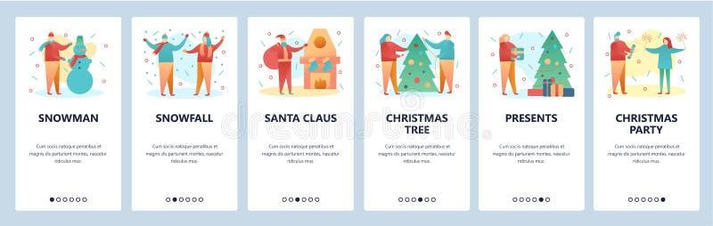 Écrans onboarding de site Web Partie de Noël et de nouvelle année arbre de bonhomme de neige de Claus Santa de Noël Bannière de v illustration stock