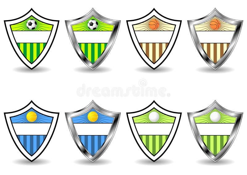 Écrans protecteurs de sport réglés illustration de vecteur