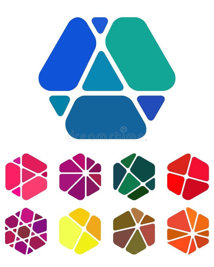 Écrasement des logos abstraits de conception d'hexagone illustration stock
