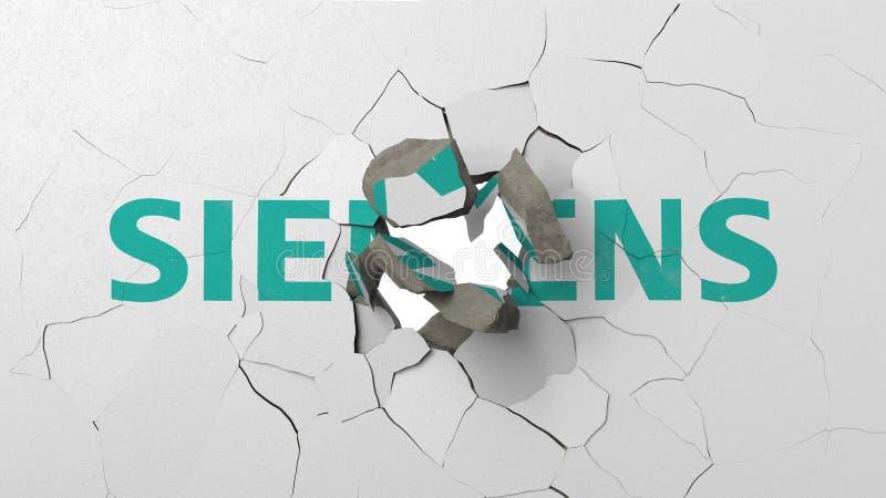 Écrasement du mur en béton avec le logo de Siemens Rendu 3D éditorial conceptuel de crise illustration libre de droits
