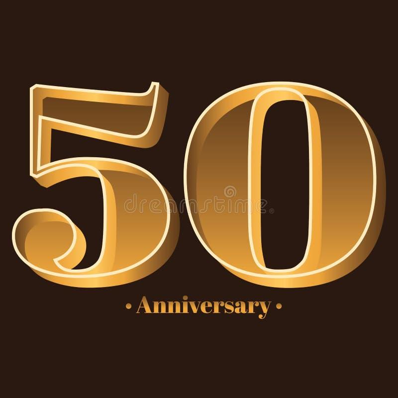 Écriture, célébrant, anniversaire du numéro 50 - cinquantième anniversaire d'année illustration stock