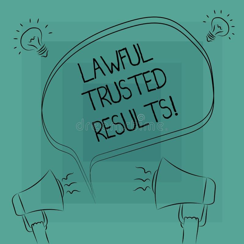 Écriture conceptuelle de main donnant des résultats de confiance légaux Affaire de fermeture des textes de photo d'affaires sûre  illustration de vecteur