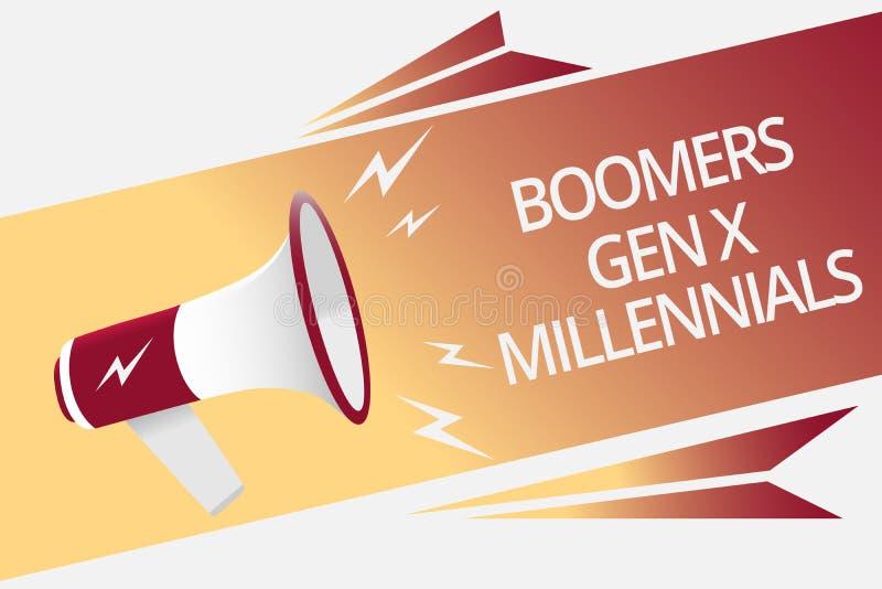 Écriture conceptuelle de main montrant à boomers la GEN X Millennials Texte de photo d'affaires généralement considéré environ tr illustration de vecteur