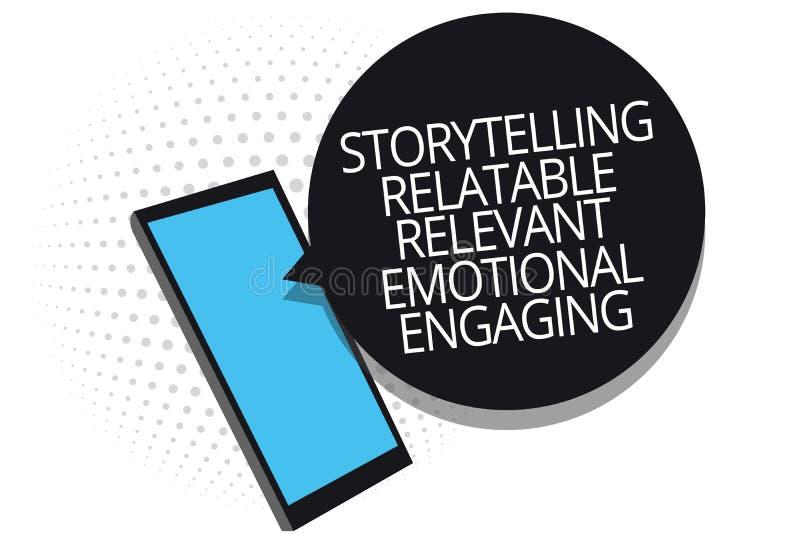 Écriture conceptuelle de main montrant à fabulation s'engager émotif approprié racontable Contes de présentation de souvenirs de  illustration stock