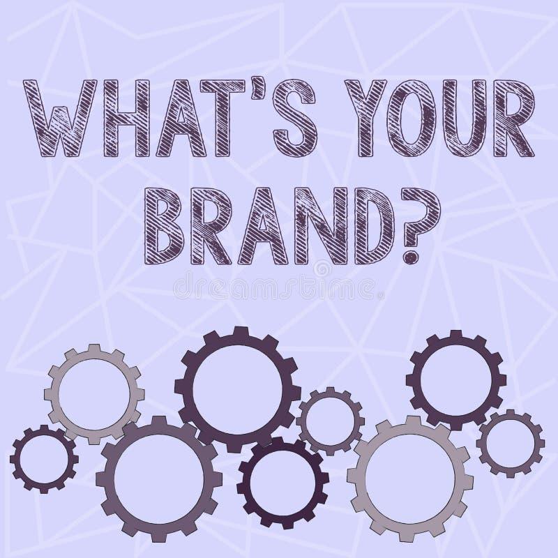 Écriture conceptuelle de main montrant à quel S votre question de marque Le texte de photo d'affaires s'enquérant du logo de prod illustration de vecteur