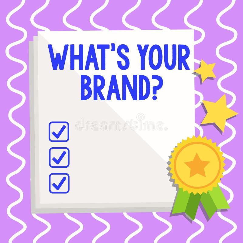 Écriture conceptuelle de main montrant à quel S votre question de marque Le texte de photo d'affaires s'enquérant du logo de prod illustration libre de droits