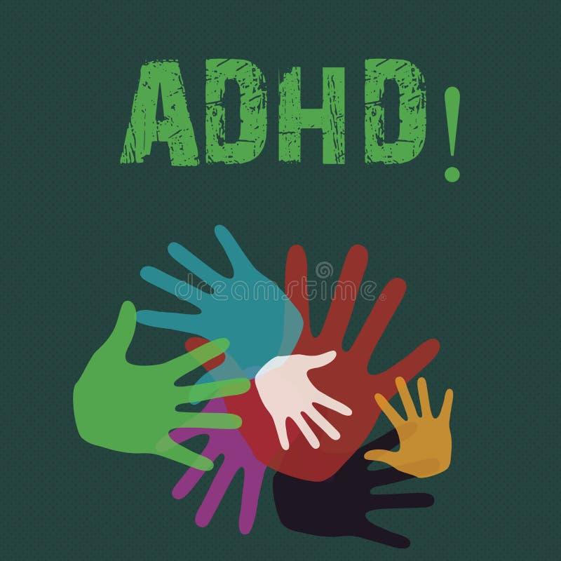 Écriture conceptuelle de main montrant Adhd Étude de présentation de photo d'affaires facilitée pour des enfants n'enseignant pas illustration de vecteur