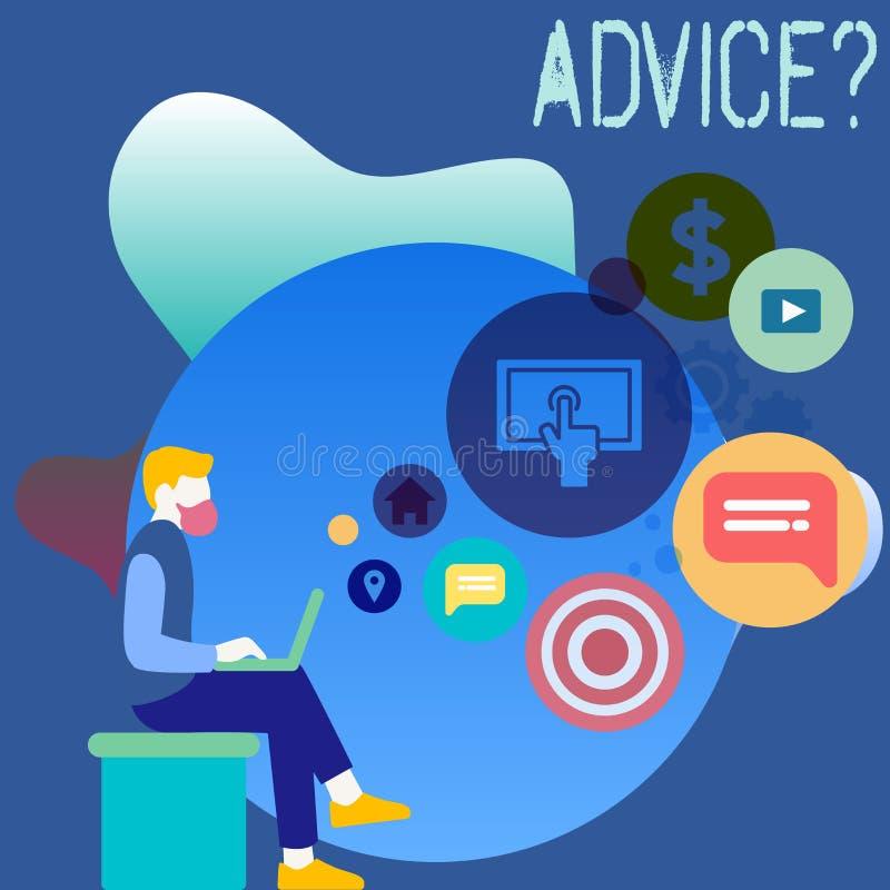 Écriture conceptuelle de main montrant Advicequestion La photo d'affaires présentant conseillant l'aide d'encouragement recommand illustration stock