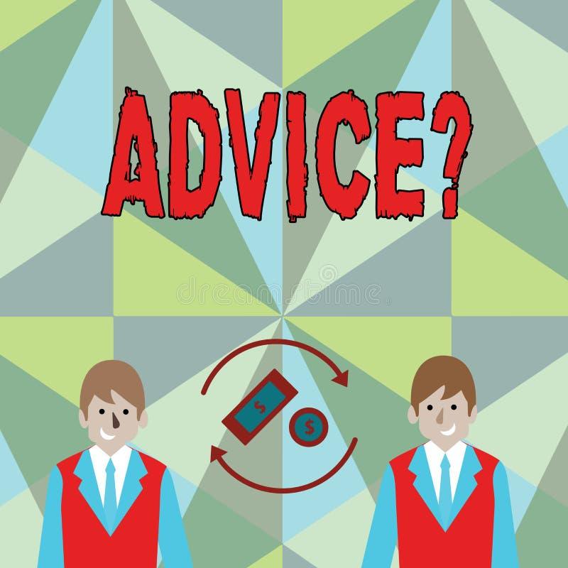 Écriture conceptuelle de main montrant Advicequestion La photo d'affaires présentant conseillant l'aide d'encouragement recommand illustration de vecteur