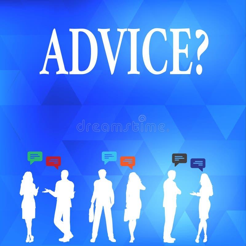 Écriture conceptuelle de main montrant Advicequestion Le texte de photo d'affaires conseillant l'aide d'encouragement recommanden illustration libre de droits