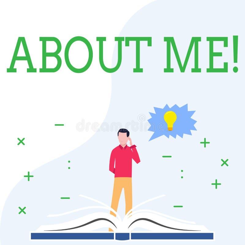 Écriture conceptuelle de main montrant au sujet de moi Photo d'affaires présentant mes goûts personnels de l'information de carac illustration libre de droits