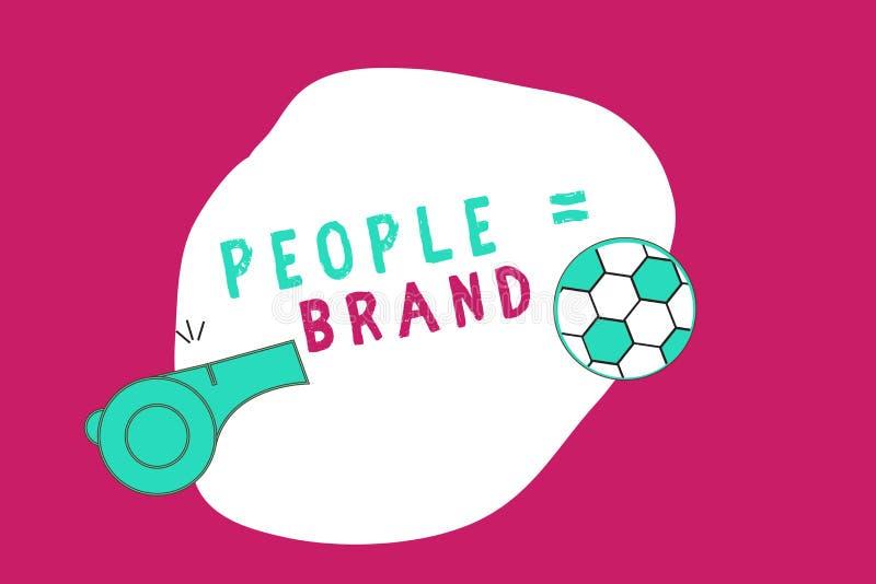 Écriture conceptuelle de main montrant aux gens la marque égale Photo d'affaires présentant la personnalité de définition de marq illustration stock