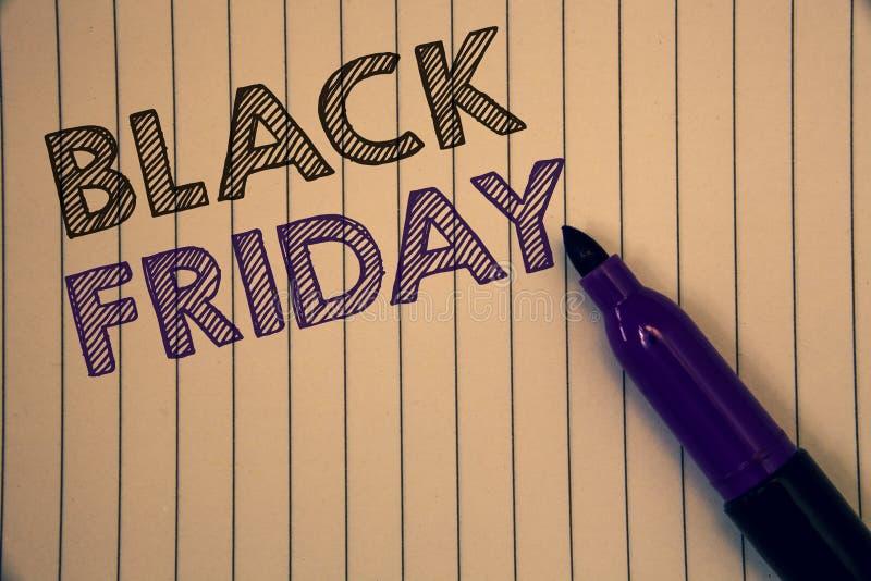 Écriture conceptuelle de main montrant Black Friday Les photos d'affaires présentant des ventes spéciales après des achats de tha photo stock