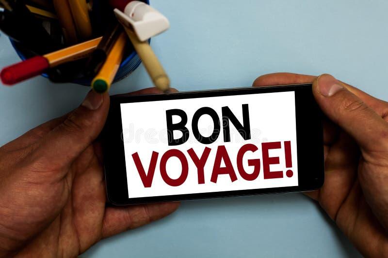 Écriture conceptuelle de main montrant Bon Voyage Photo d'affaires présentant de bons souhaits exprès utilisés à quelqu'un au suj image libre de droits