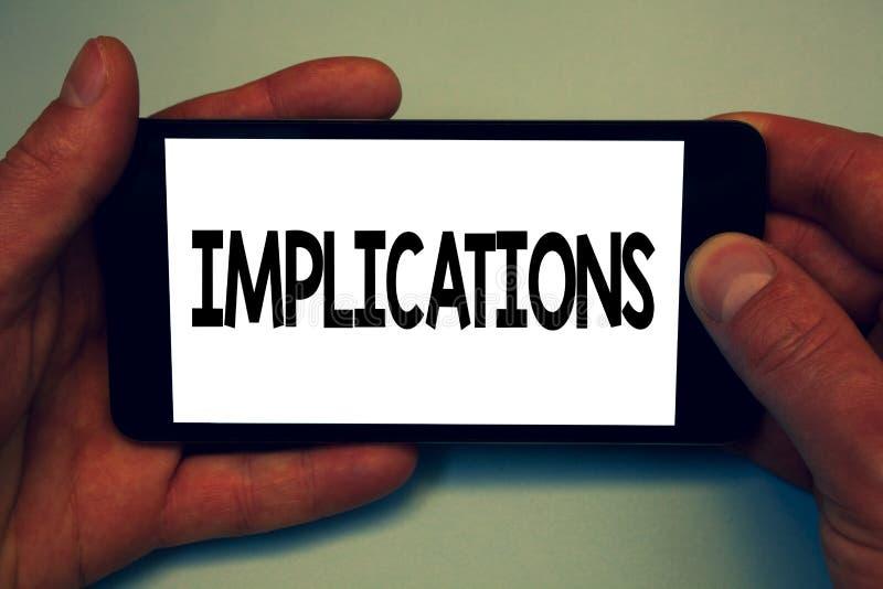 Écriture conceptuelle de main montrant des implications État de présentation de conclusion de photo d'affaires d'être insinuation photo stock