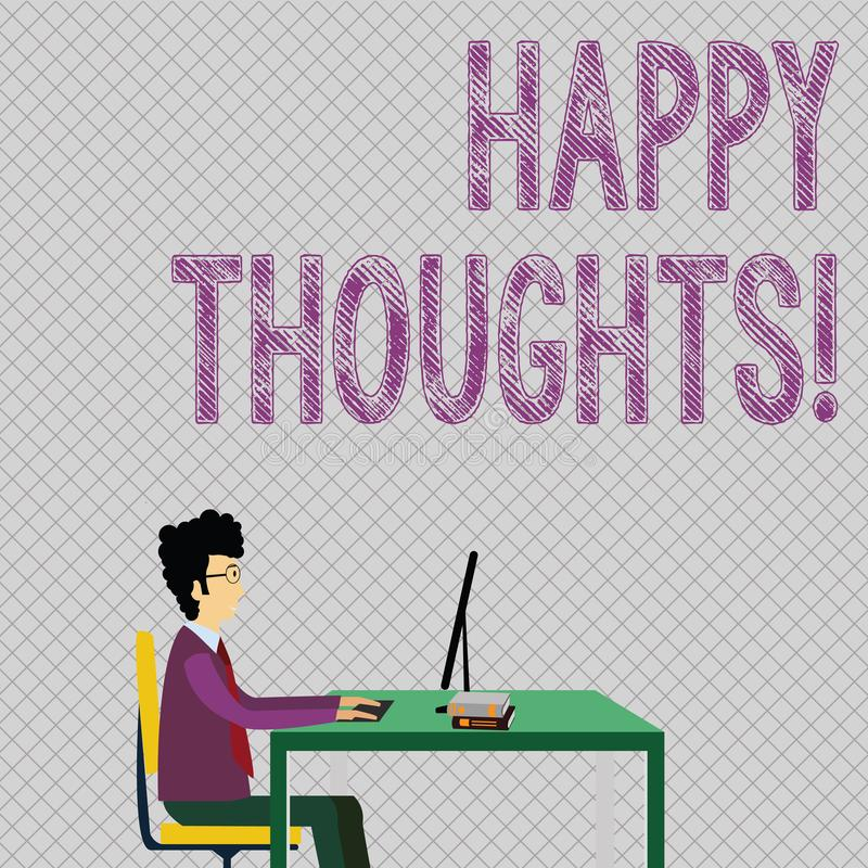 Écriture conceptuelle de main montrant des pensées heureuses Photo d'affaires présentant la bonne opinion d'idée produite par illustration libre de droits