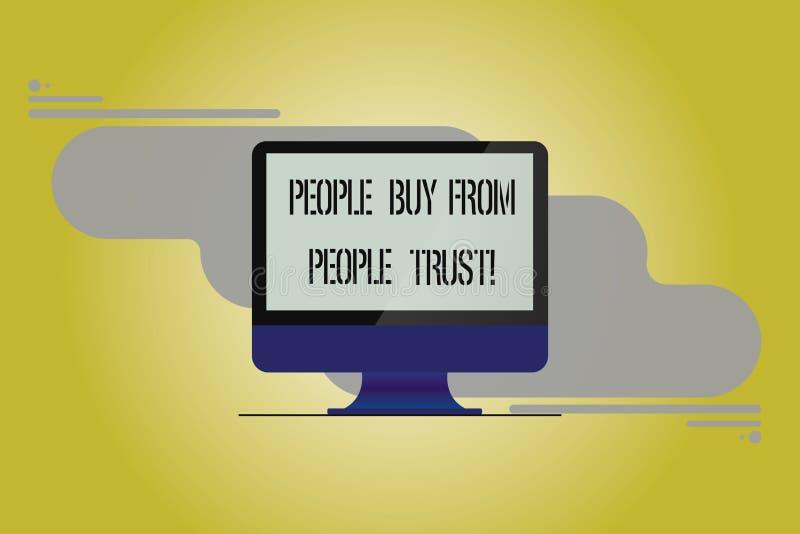Écriture conceptuelle de main montrant des personnes pour acheter des personnes elles font confiance à la confiance de constructi illustration stock