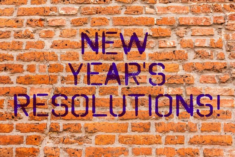 Écriture conceptuelle de main montrant des résolutions de la nouvelle année S Les objectifs de présentation de buts de photo d'af photos libres de droits