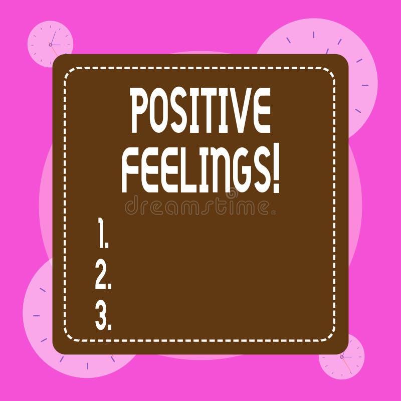 Écriture conceptuelle de main montrant des sentiments positifs Photo d'affaires présentant tout sentiment d'où il y a un manque illustration stock