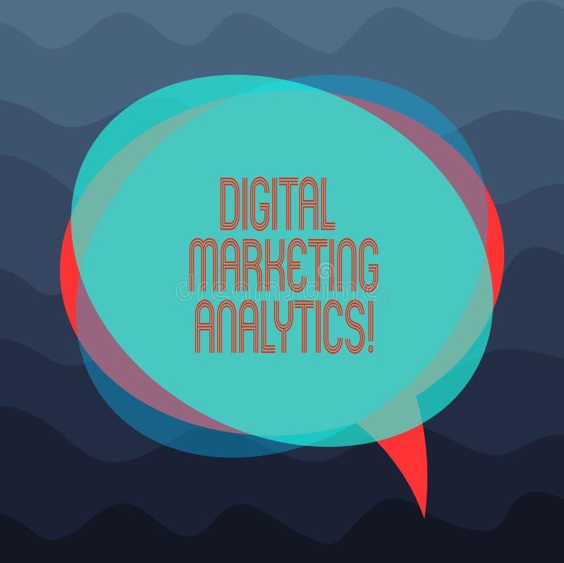 Écriture conceptuelle de main montrant Digital lançant l'Analytics sur le marché La métrique de présentation d'affaires de mesure illustration de vecteur