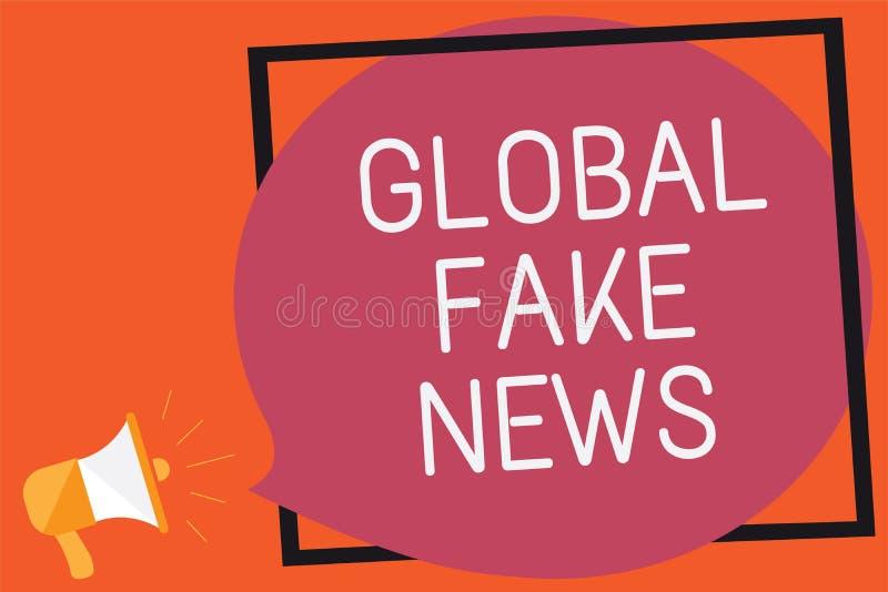 Écriture conceptuelle de main montrant de fausses actualités globales Canular faux Rememb de désinformation de mensonges de journ illustration libre de droits