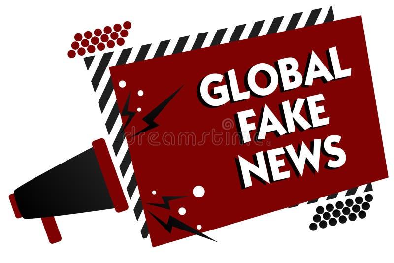 Écriture conceptuelle de main montrant de fausses actualités globales Désinformation fausse de mensonges de journalisme de l'info illustration libre de droits