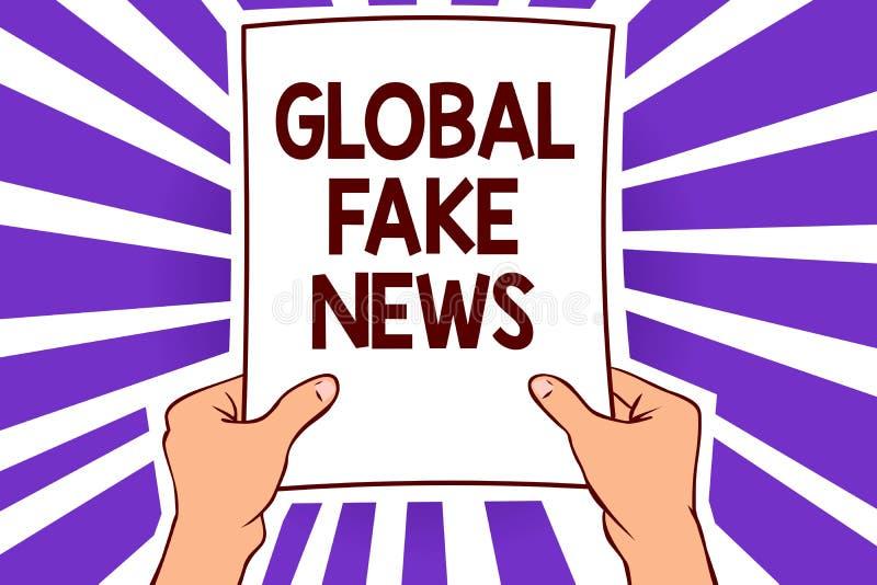 Écriture conceptuelle de main montrant de fausses actualités globales Papier faux de canular de désinformation de mensonges de jo illustration libre de droits