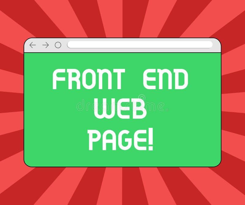 Écriture conceptuelle de main montrant Front End Web Page Photo d'affaires présentant convertissant des données en interface grap illustration stock