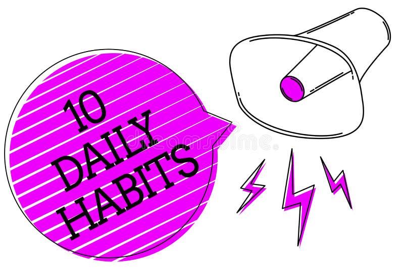 Écriture conceptuelle de main montrant 10 habitudes quotidiennes Nutrition de mode de vie courant sain des textes de photo d'affa photos libres de droits