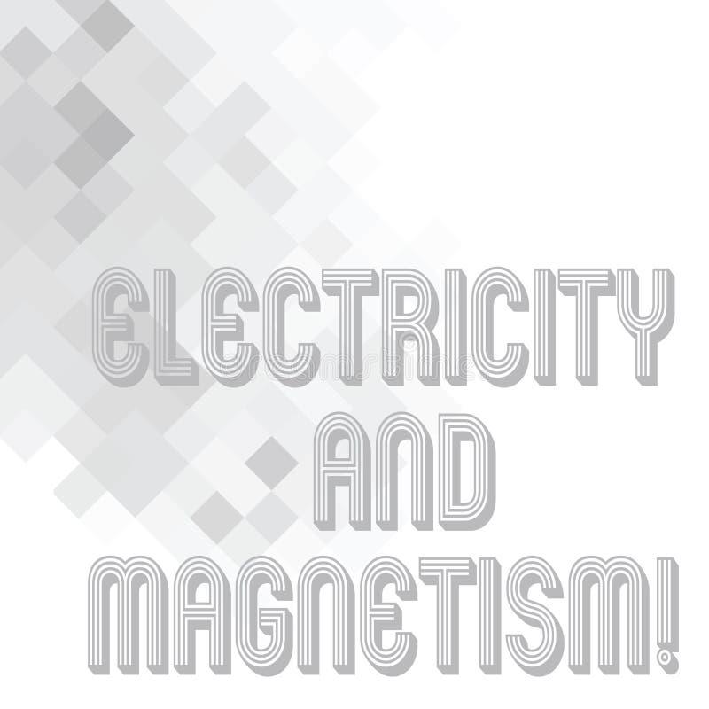 Écriture conceptuelle de main montrant l'électricité et le magnétisme Le texte de photo d'affaires incarne un électromagnétique à illustration stock