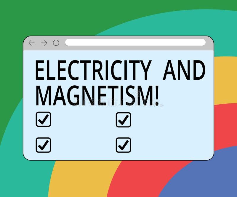 Écriture conceptuelle de main montrant l'électricité et le magnétisme Le texte de photo d'affaires incarne une force électromagné illustration de vecteur