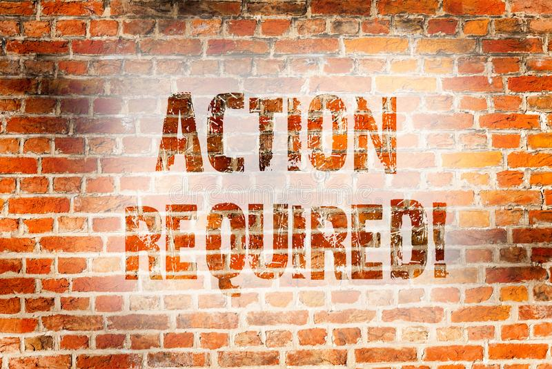 Écriture conceptuelle de main montrant l'action requise La photo d'affaires présentant l'acte important a eu besoin d'immédiat vi illustration de vecteur