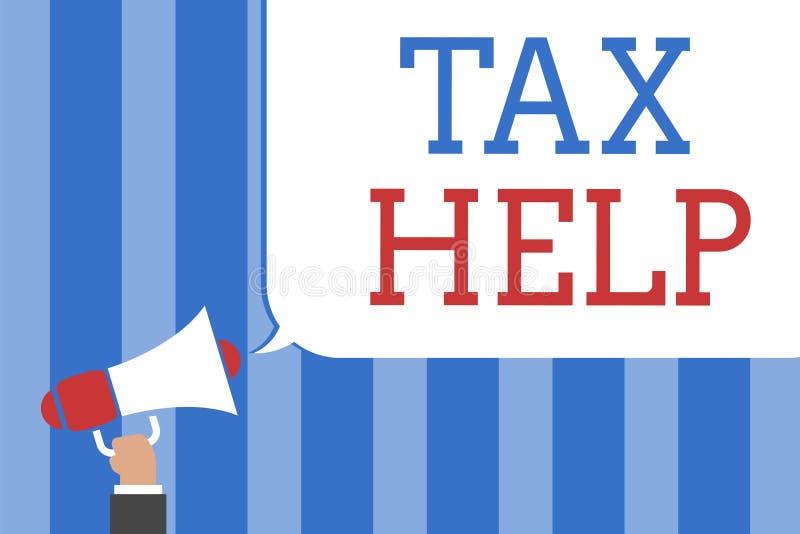 Écriture conceptuelle de main montrant l'aide d'impôts Aide des textes de photo d'affaires de la contribution obligatoire à l'éta illustration libre de droits