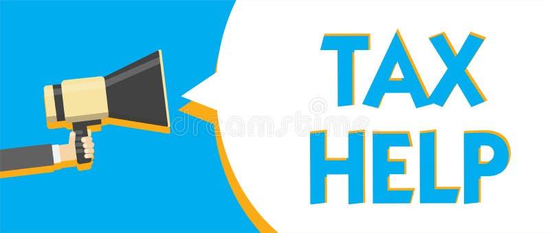 Écriture conceptuelle de main montrant l'aide d'impôts Aide des textes de photo d'affaires de la contribution obligatoire à l'age illustration stock