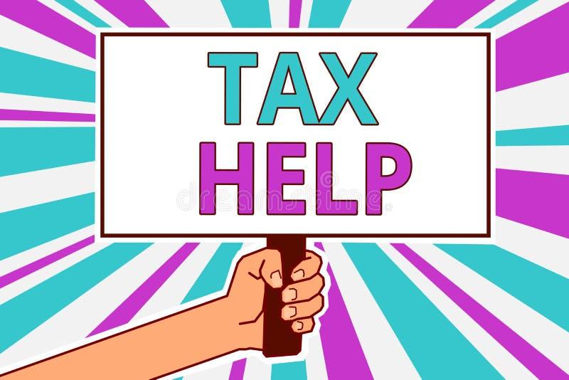 Écriture conceptuelle de main montrant l'aide d'impôts L'aide de présentation de photo d'affaires de la contribution obligatoire  illustration de vecteur
