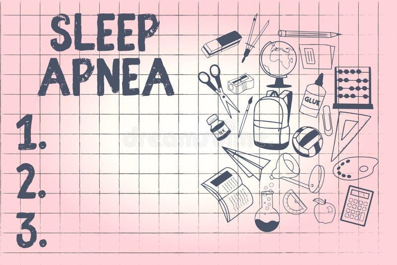 Écriture conceptuelle de main montrant l'apnée du sommeil Photo d'affaires présentant l'interruption provisoire de la respiration illustration de vecteur