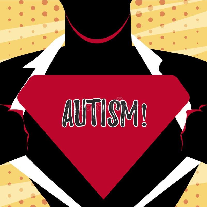 Écriture conceptuelle de main montrant l'autisme Conscience d'autisme des textes de photo d'affaires conduite par le comité socia illustration libre de droits