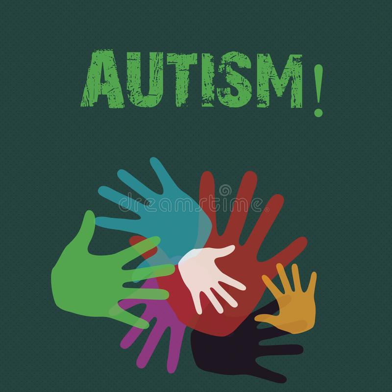 Écriture conceptuelle de main montrant l'autisme Conscience de présentation d'autisme de photo d'affaires conduite par le comité  illustration de vecteur