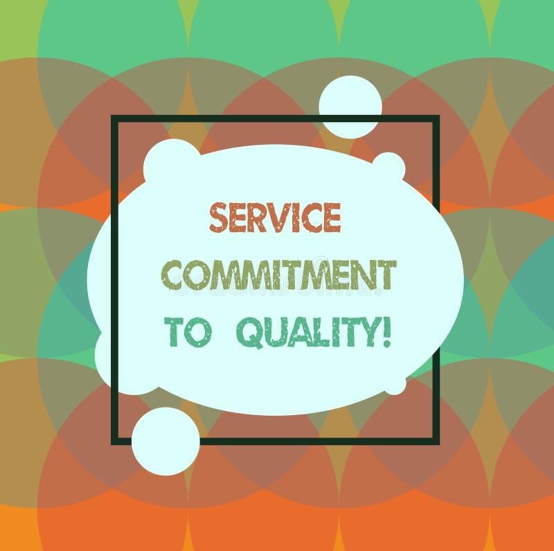 Écriture conceptuelle de main montrant l'engagement de service à la qualité Blanc de haute qualité d'aide des textes de photo d'a illustration de vecteur