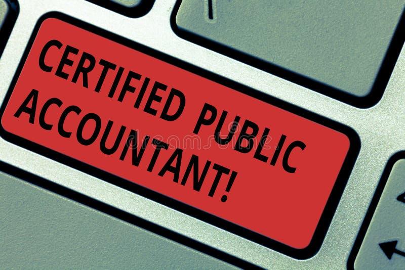 Écriture conceptuelle de main montrant l'expert-comptable certifié Organisme professionnel accrédité par texte de photo d'affaire photos libres de droits
